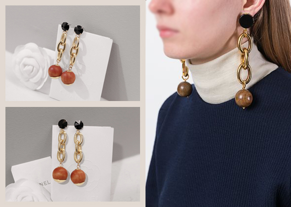 wood ball earing