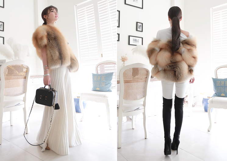 fox saga fur coat (beige)