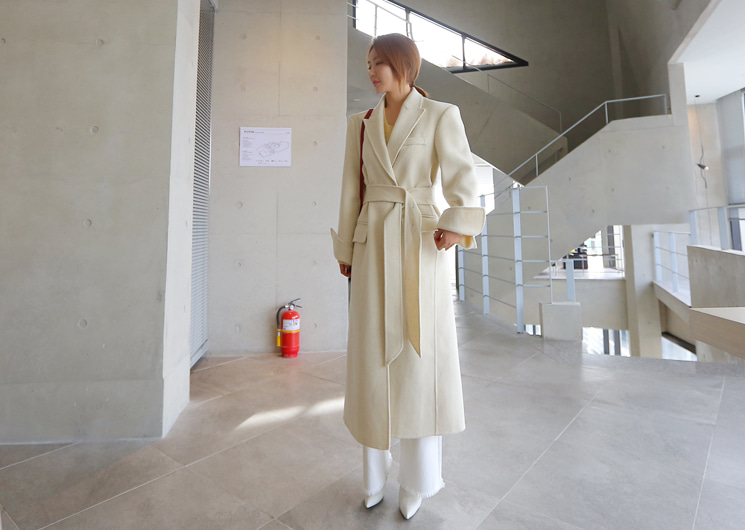 wool belt hand coat