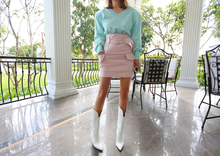 belted pocket skirt