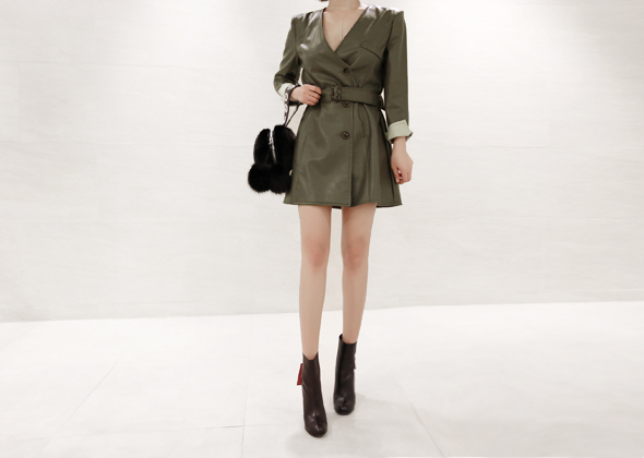 lether one-piece&jacket (khaki)