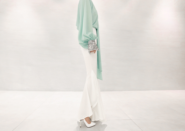 silver spangle blouse (mint)