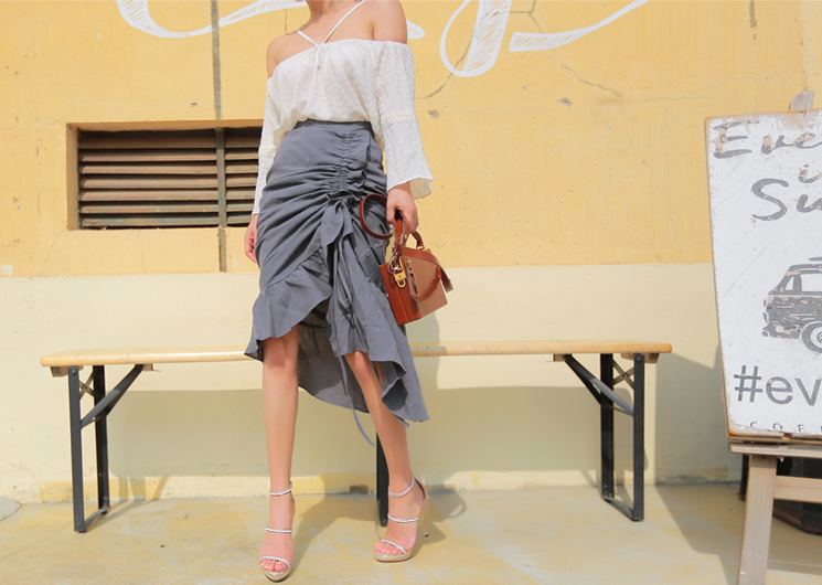 linen string skirt (gray)