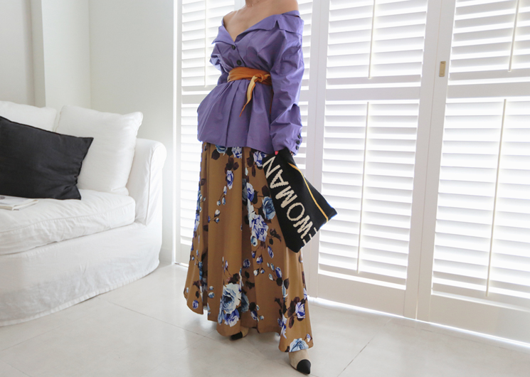 flower garden skirt (brown)