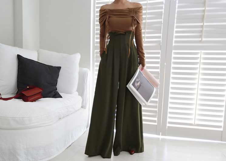 high tulip pants (khaki)
