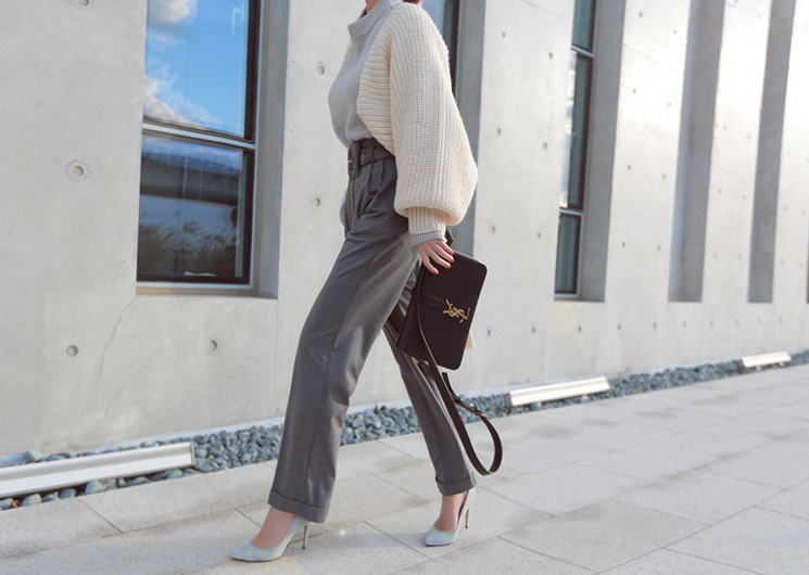 chic belt pants (gray)