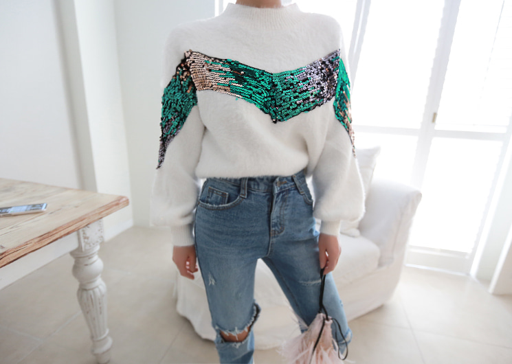 [SALE] v spangle knit (ivory)