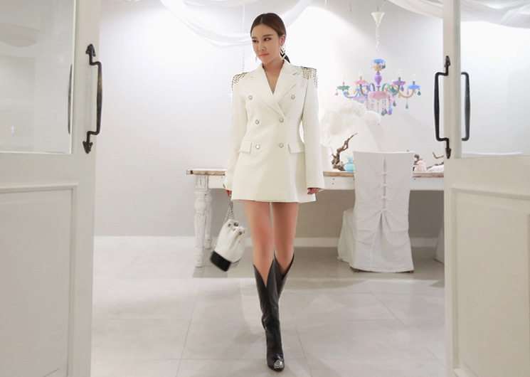 flower cubic jacket (ivory)