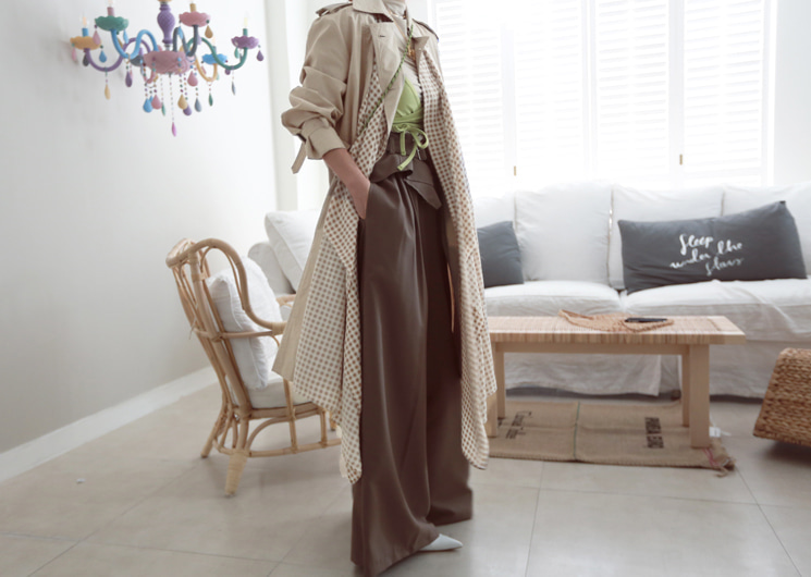 scarf long trench coat