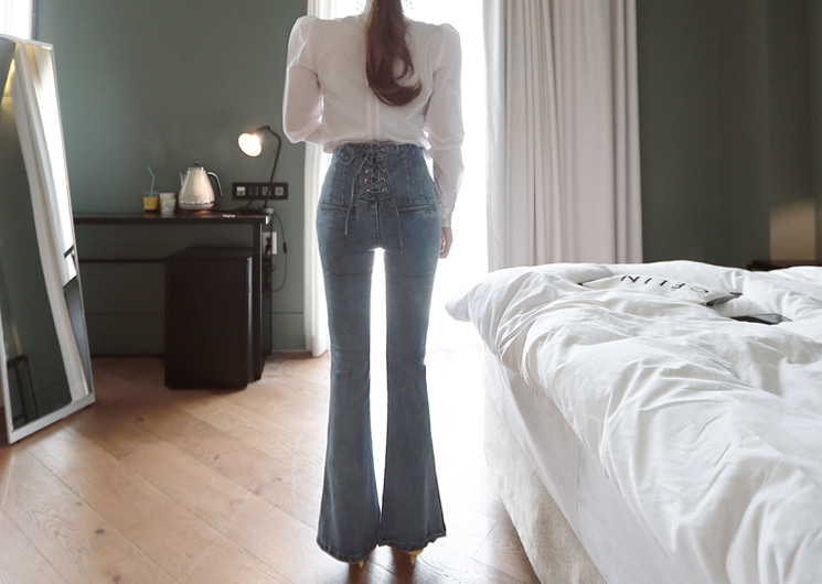 back eyelet denim pants