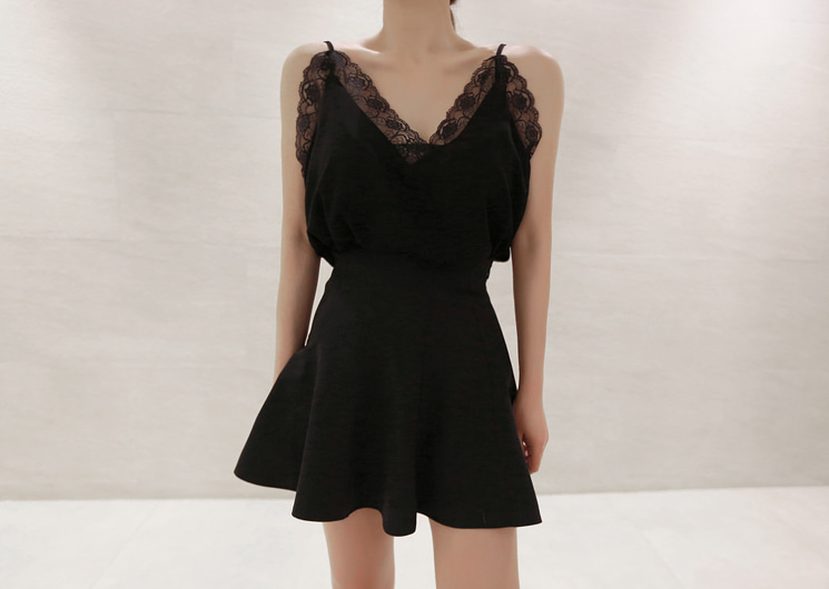 feminine lace sleeveless (black)