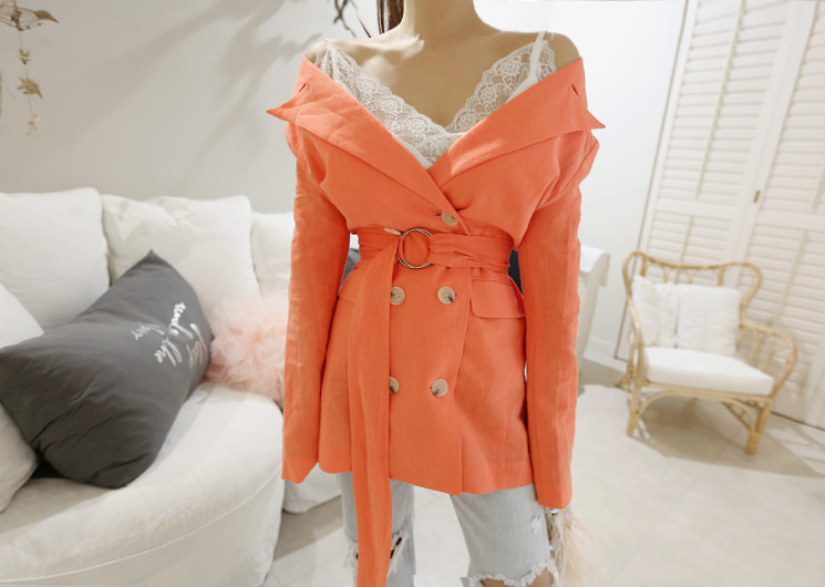 off shoulder jacket (peach)