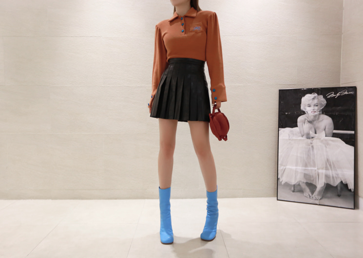 [SALE] run leather skirt