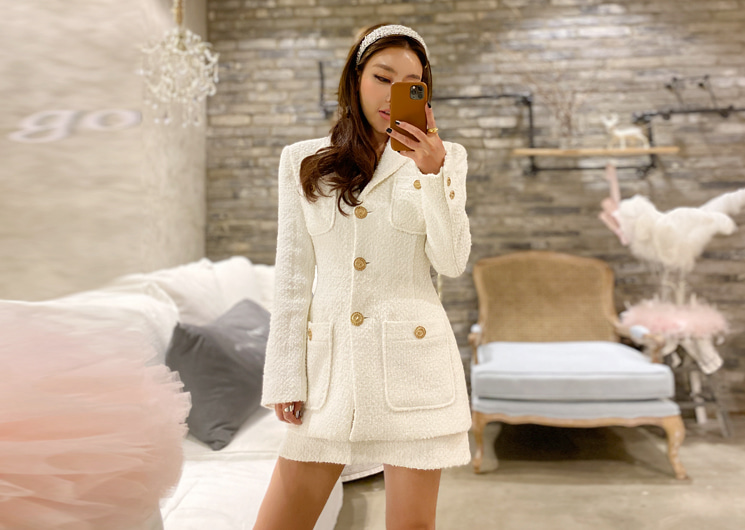 holiday tweed jacket (ivory)