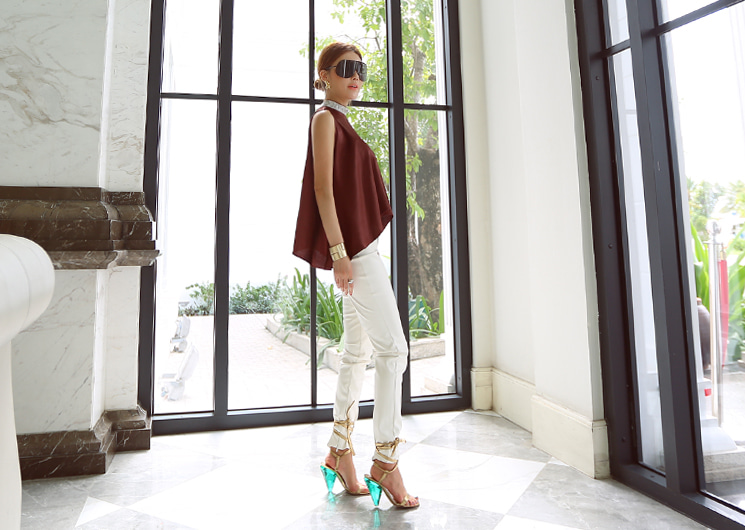 leather skinny leggings (ivory)