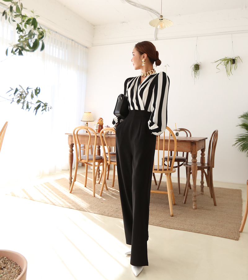 color stripe jump-suit