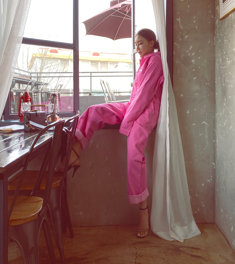 utility jump-suit (pink)