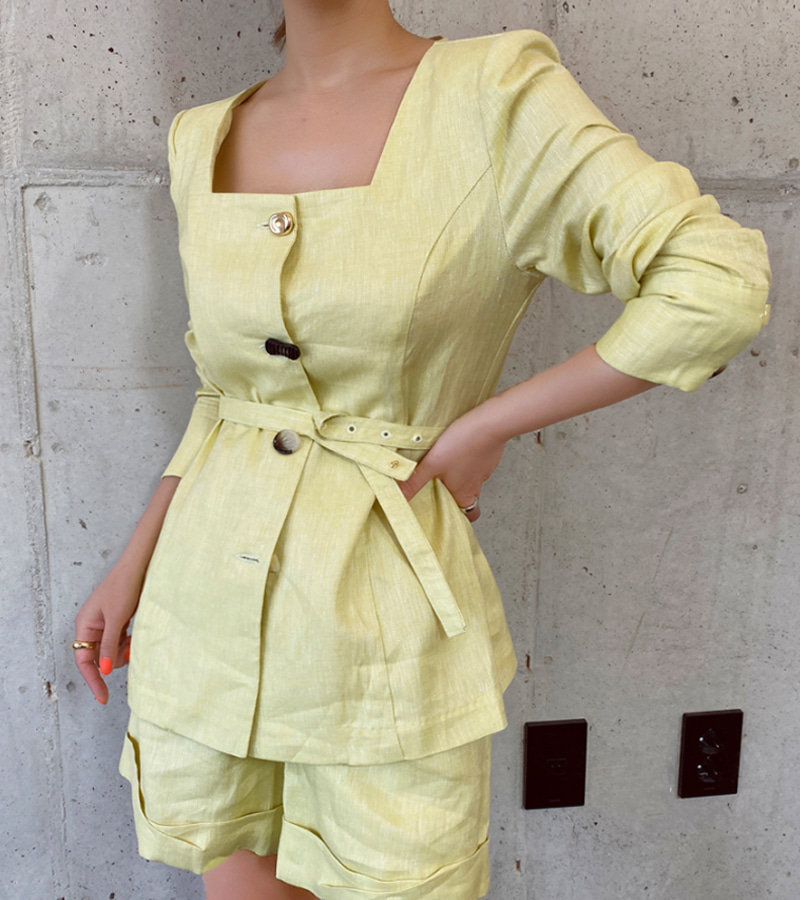 wannabe linen set (lemon)