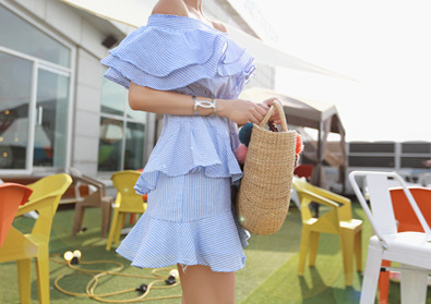 blue frill one-piece