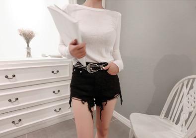 cotton half pants (black)