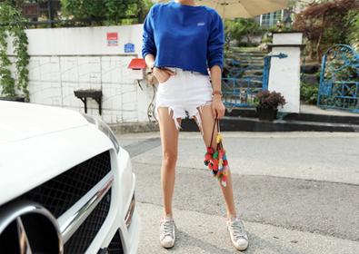 cotton half pants (white)